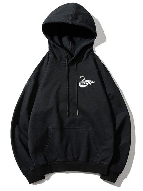 Cisne letra pequeña gota sólido básico hombro con capucha - Negro 2XL Mobile