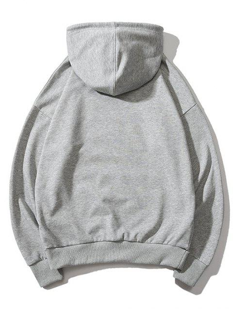 Diminuta cabeza de impresión de goteo perro hombro con capucha básica - Gris S Mobile