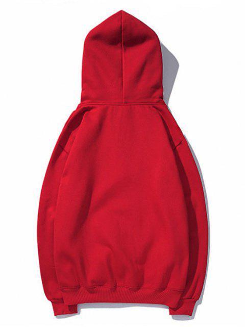 Diminuta cabeza de impresión de goteo perro hombro con capucha básica - Rojo 3XL Mobile
