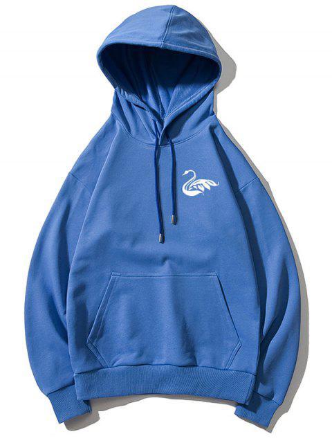 Cisne letra pequeña gota sólido básico hombro con capucha - Azul S Mobile