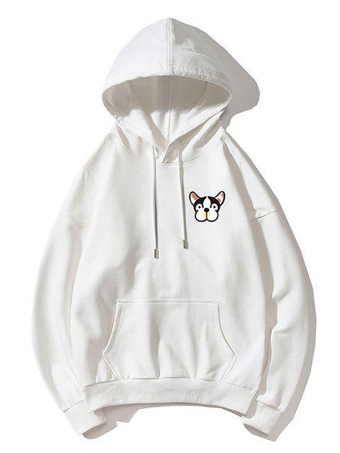 Diminuta cabeza de impresión de goteo perro hombro con capucha básica - Blanco M Mobile