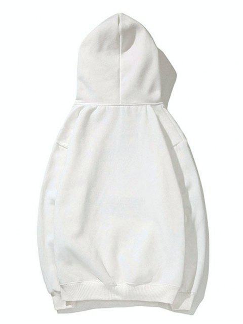 Diminuta cabeza de impresión de goteo perro hombro con capucha básica - Blanco L Mobile