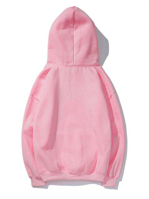 Cisne letra pequeña gota sólido básico hombro con capucha - Rosado S Mobile