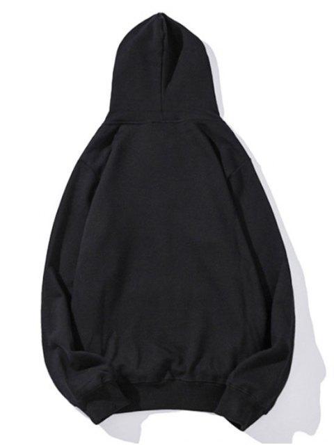 Diminuta cabeza de impresión de goteo perro hombro con capucha básica - Negro XL Mobile