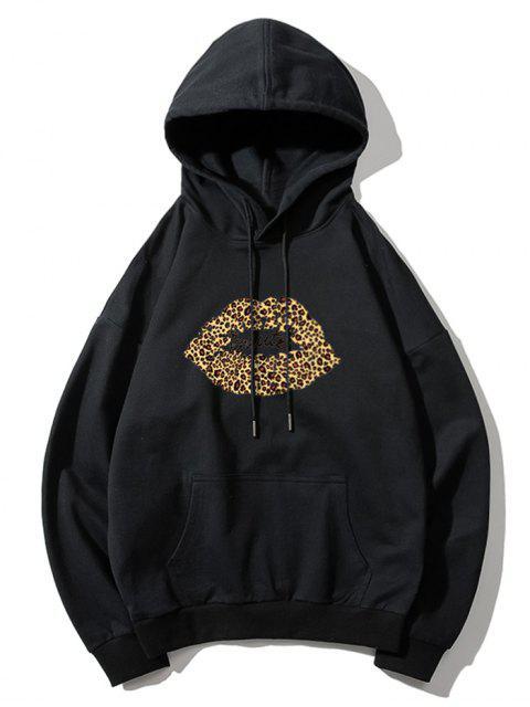 Sudadera con capucha de leopardo de labios de impresión de letras gota del hombro - Negro M Mobile