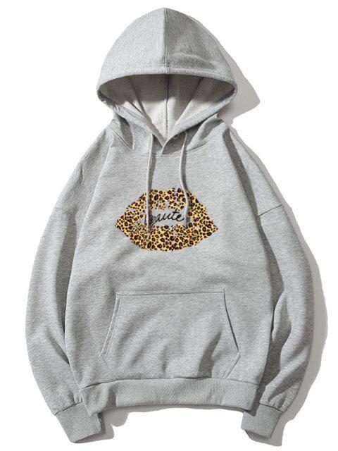 Sudadera con capucha de leopardo de labios de impresión de letras gota del hombro - Gris XL Mobile