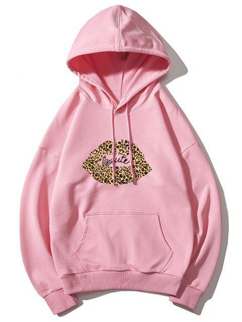 Sudadera con capucha de leopardo de labios de impresión de letras gota del hombro - Rosado L Mobile