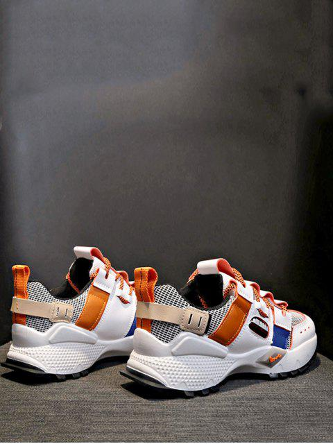 chic Breathable Mix Material Dad Sneakers - TANGERINE EU 37 Mobile