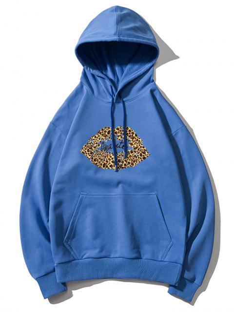 Sudadera con capucha de leopardo de labios de impresión de letras gota del hombro - Azul 3XL Mobile