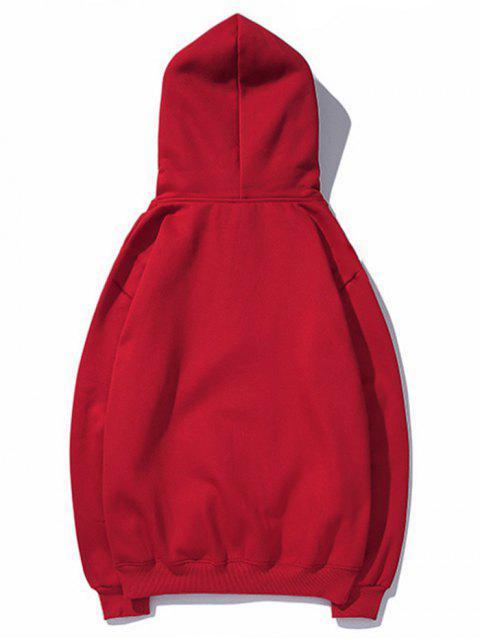 Sudadera con capucha de leopardo de labios de impresión de letras gota del hombro - Rojo M Mobile