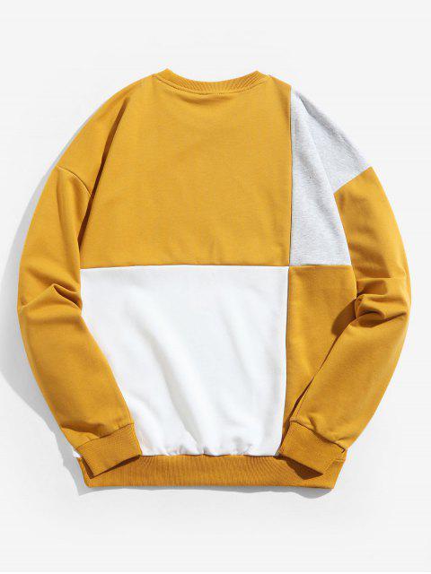 Color de empalmado impresión de la letra ocasional de la camiseta - Amarillo de Sol  2XL Mobile
