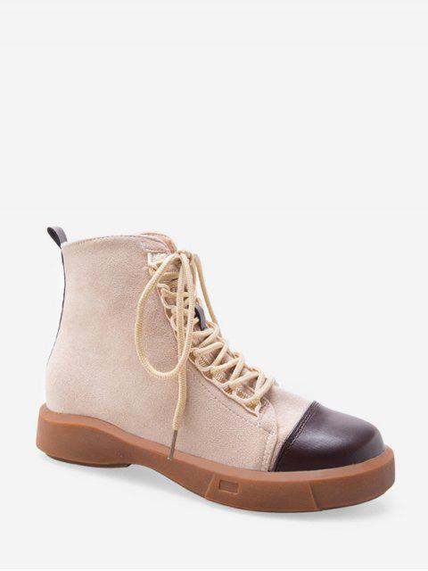 ladies Contrast Toe Cap Lace Up Cargo Boots - BEIGE EU 36 Mobile