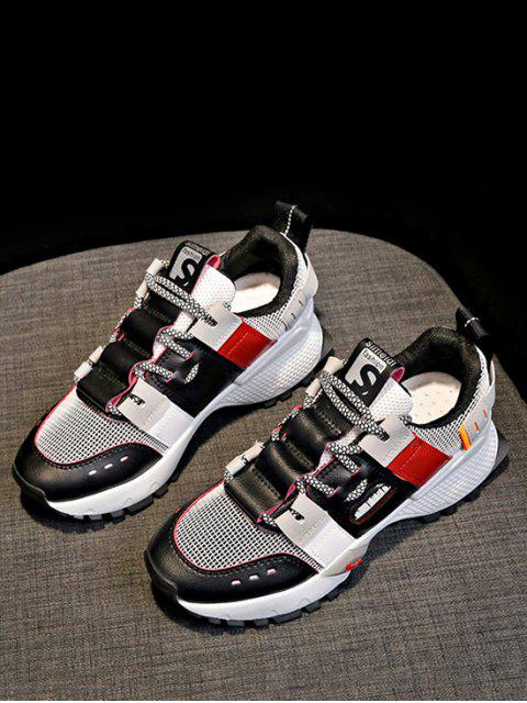fashion Breathable Mix Material Dad Sneakers - RED EU 37 Mobile
