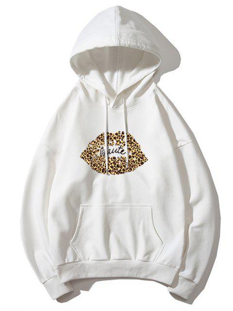 Sudadera con capucha de leopardo de labios de impresión de letras gota del hombro - Blanco L Mobile