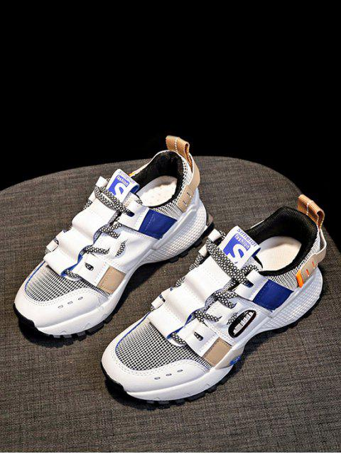 outfits Breathable Mix Material Dad Sneakers - BLUE EU 39 Mobile