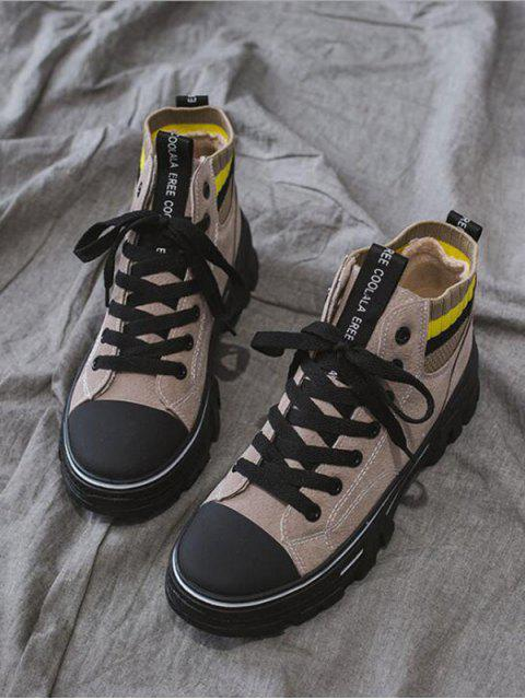 shops Artificial Leather Striped Trim Casual Ankle Boots - BEIGE EU 37 Mobile