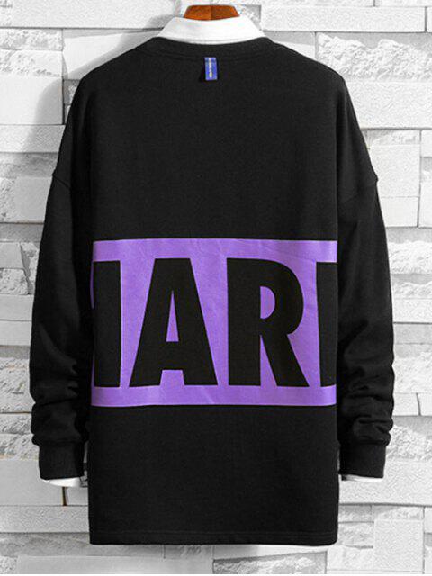 Carta Contraste de impresión en color ocasional de la camiseta - Negro M Mobile