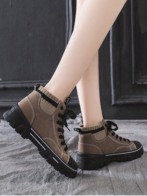 lady Artificial Leather Striped Trim Casual Ankle Boots - KHAKI EU 37 Mobile