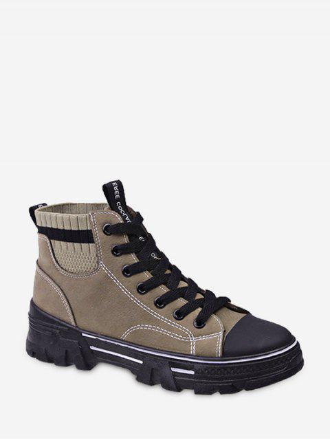 buy Artificial Leather Striped Trim Casual Ankle Boots - BEIGE EU 36 Mobile