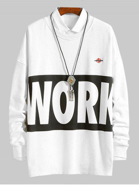Carta Contraste de impresión en color ocasional de la camiseta - Blanco L Mobile