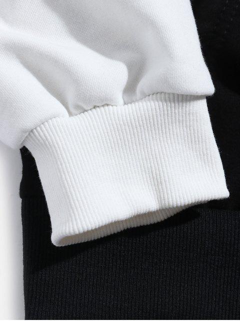 Faux dos piezas casual con capucha de impresión de letras - Negro L Mobile