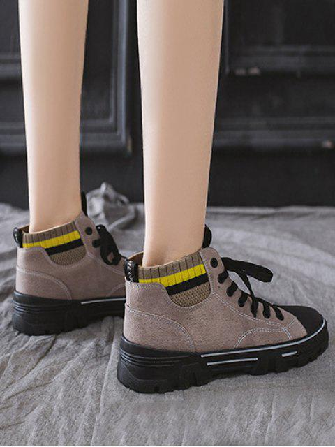 lady Artificial Leather Striped Trim Casual Ankle Boots - BEIGE EU 40 Mobile