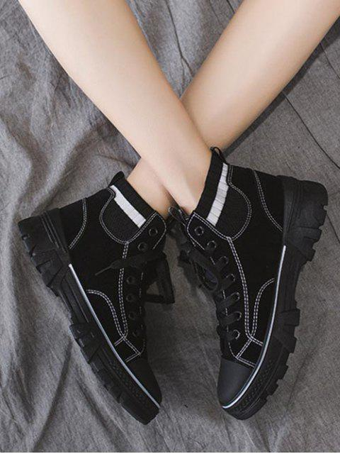 women's Artificial Leather Striped Trim Casual Ankle Boots - BLACK EU 40 Mobile