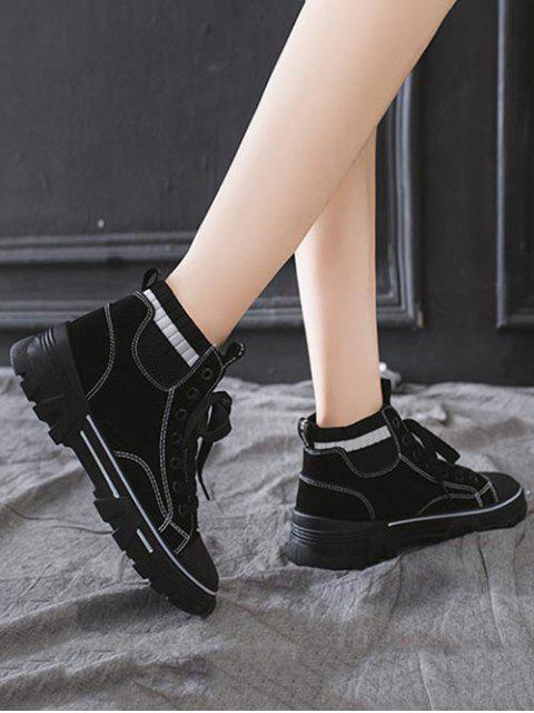 online Artificial Leather Striped Trim Casual Ankle Boots - BLACK EU 38 Mobile