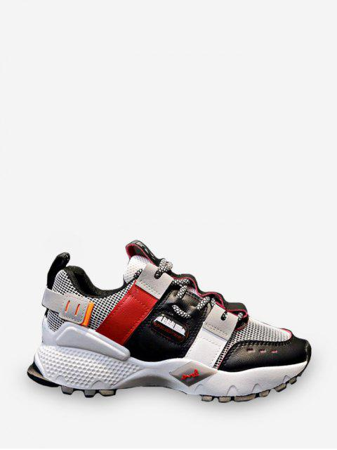 hot Breathable Mix Material Dad Sneakers - RED EU 38 Mobile