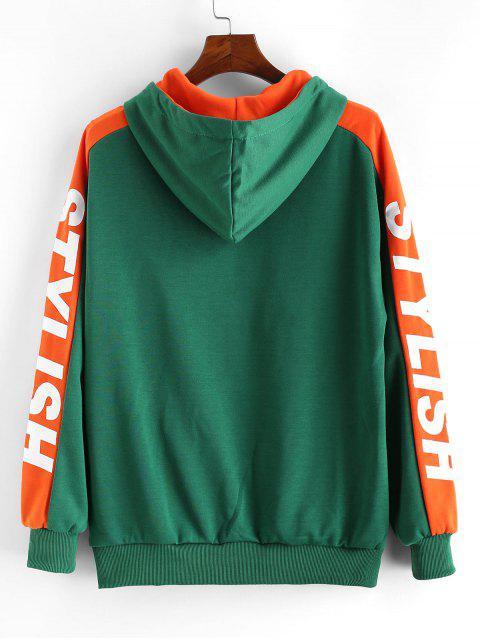 Carta caída del hombro con estilo ocasional de la impresión con capucha - Verde 2XL Mobile