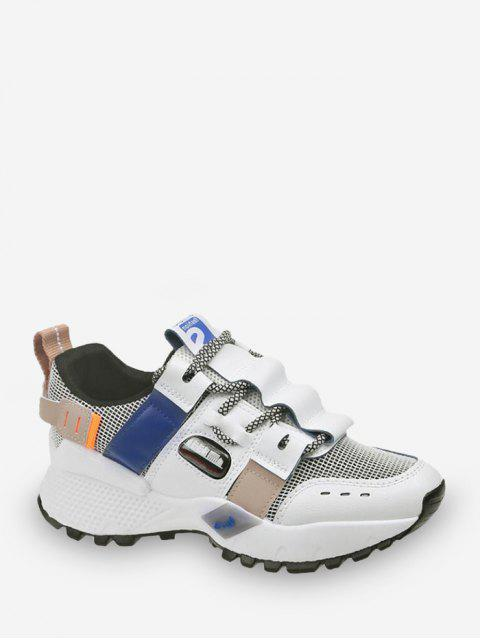 women's Breathable Mix Material Dad Sneakers - BLUE EU 38 Mobile