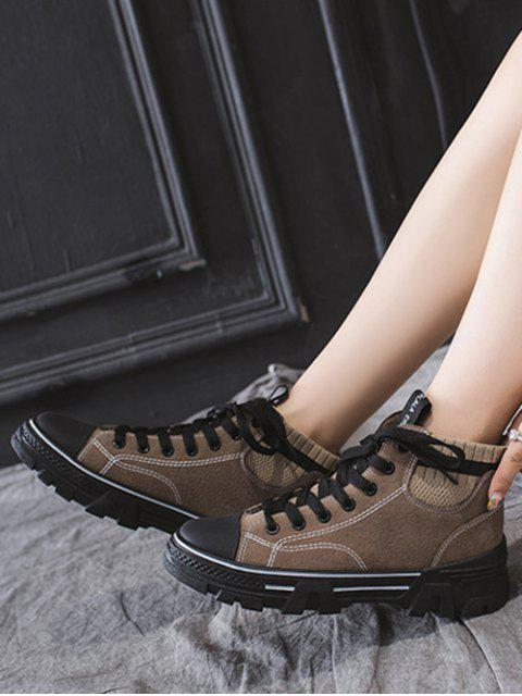 latest Artificial Leather Striped Trim Casual Ankle Boots - KHAKI EU 38 Mobile