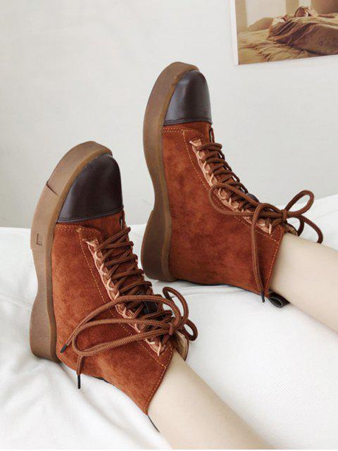 fashion Contrast Toe Cap Lace Up Cargo Boots - BROWN EU 38 Mobile