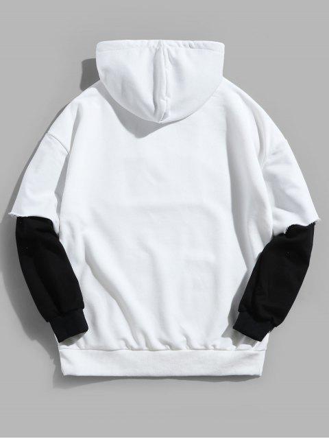Faux dos piezas casual con capucha de impresión de letras - Blanco 3XL Mobile