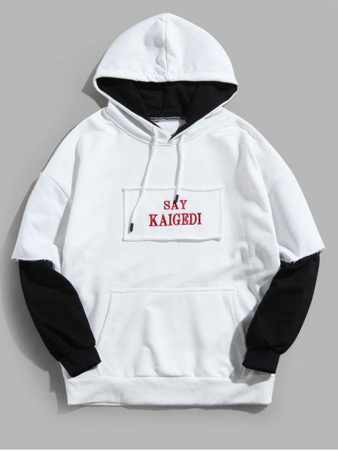 Faux dos piezas casual con capucha de impresión de letras - Blanco XL Mobile