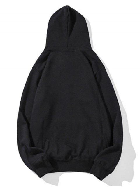 Cisne letra pequeña gota sólido básico hombro con capucha - Negro M Mobile