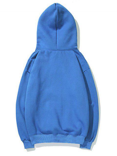 Cisne letra pequeña gota sólido básico hombro con capucha - Azul 2XL Mobile