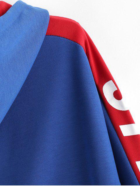 Carta caída del hombro con estilo ocasional de la impresión con capucha - Azul XL Mobile