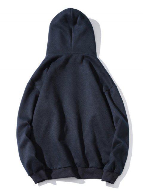 Béisbol de la letra de impresión de goteo hombro Fleece con capucha - Cadetblue M Mobile