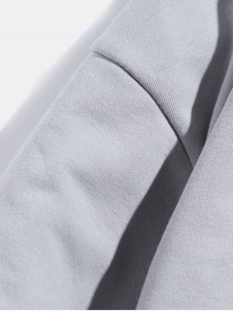 Faux dos piezas casual con capucha de impresión de letras - Gris 3XL Mobile