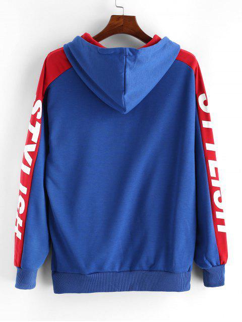Carta caída del hombro con estilo ocasional de la impresión con capucha - Azul L Mobile