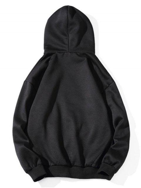 Béisbol de la letra de impresión de goteo hombro Fleece con capucha - Negro M Mobile