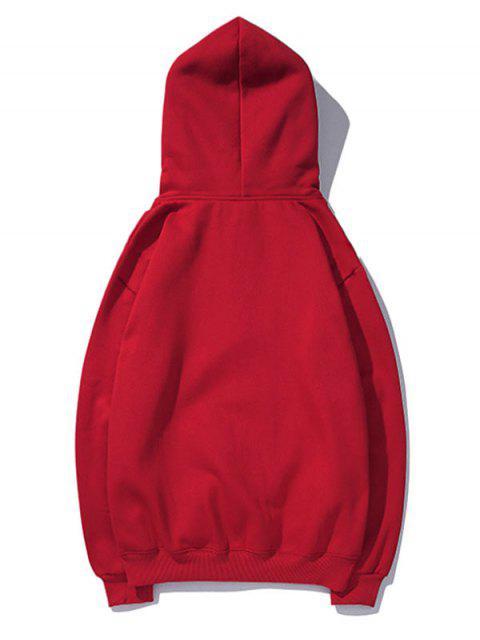 Cisne letra pequeña gota sólido básico hombro con capucha - Rojo 2XL Mobile