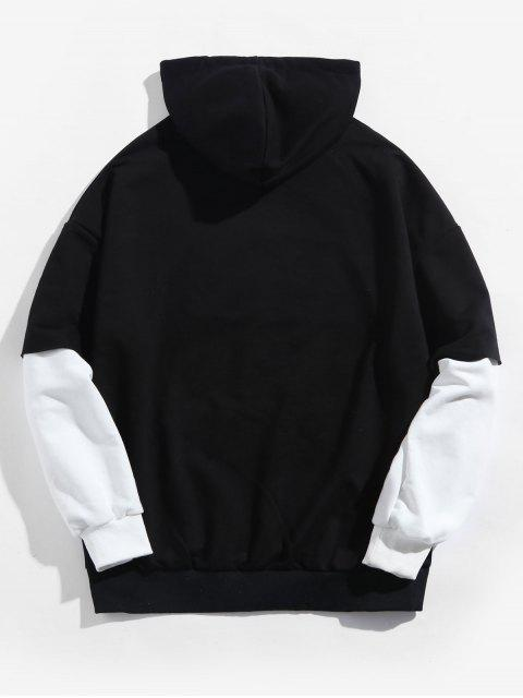 Faux dos piezas casual con capucha de impresión de letras - Negro 3XL Mobile