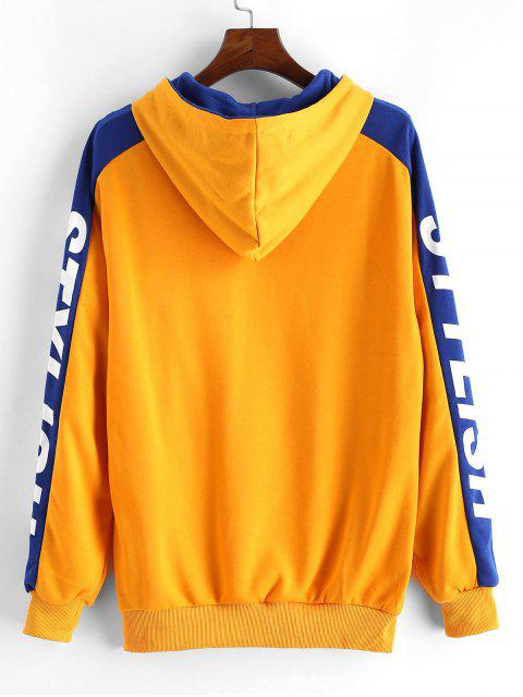 Carta caída del hombro con estilo ocasional de la impresión con capucha - Amarillo M Mobile