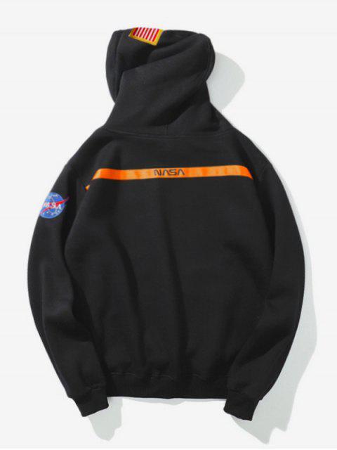 Impresión de la letra de la bandera americana con capucha ocasional del bolsillo - Negro 2XL Mobile