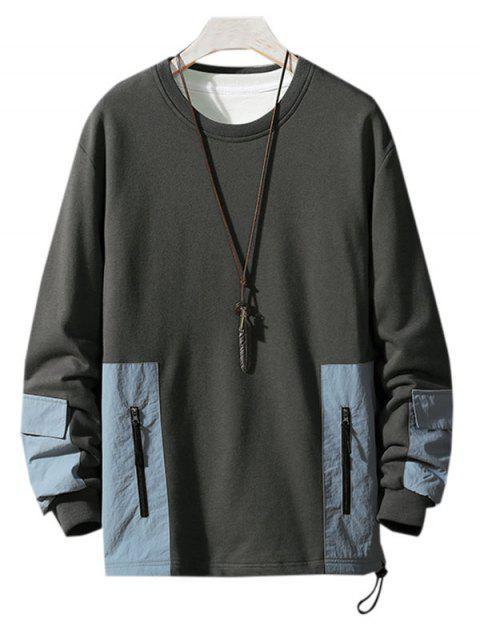 Colorblock empalmado Parche de cuello redondo con capucha - Gris Oscuro XS Mobile