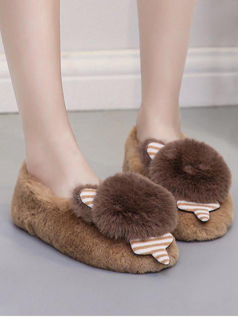 shop Cute Bear Faux Fur Slip On Flat Shoes - DARK KHAKI EU 42 Mobile