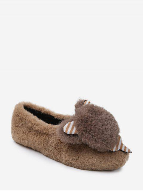 buy Cute Bear Faux Fur Slip On Flat Shoes - DARK KHAKI EU 37 Mobile