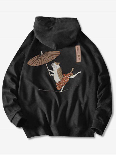 Cordón del gato del baile con el paraguas pescado impresión con capucha - Negro S Mobile